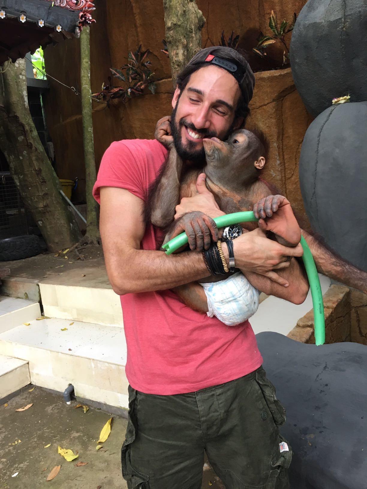 Abbraccio con la scimmia