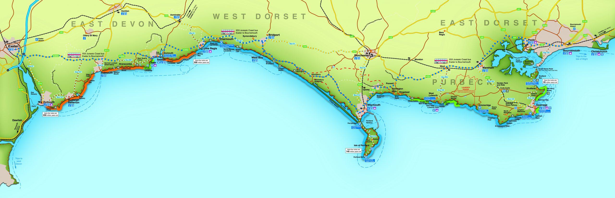 mappa jurassic coast campeggio